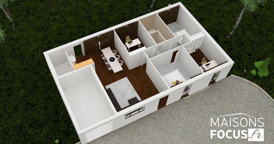 plan maison focus 91 m2. Black Bedroom Furniture Sets. Home Design Ideas