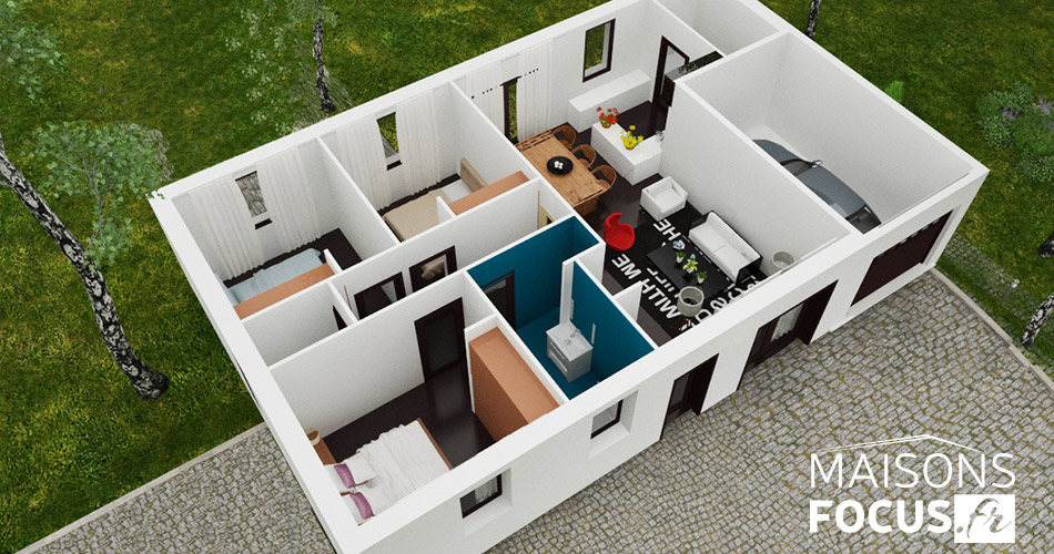 Plan de maison 80m2 3d for Plan maison interieur 3d