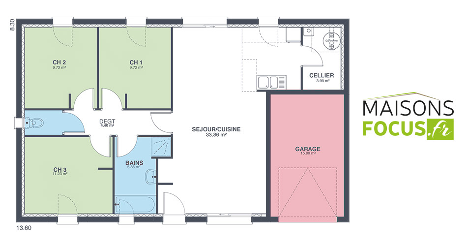 Plan maison focus 80m2 for Prix metre carre construction maison