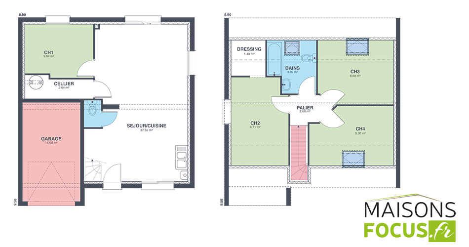 Plan maison focus 85m2 for Plan maison un etage