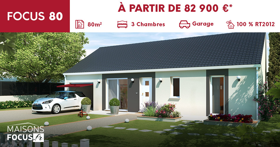 Plan maison focus 80m2 for Prix maison phenix 3 chambres garage