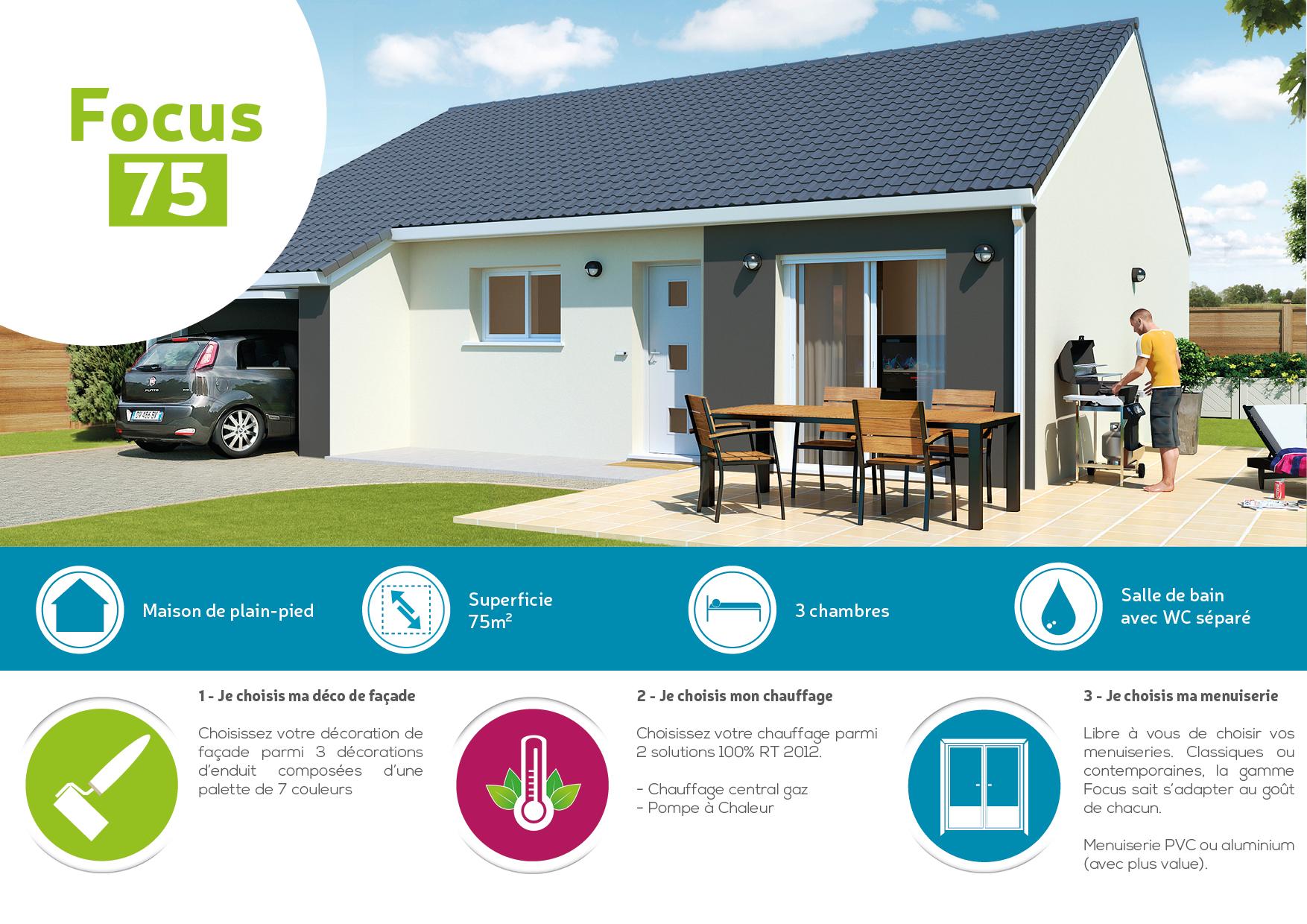 Plan maison focus 75 m2 for Prix moyen m2 construction neuve rt 2012
