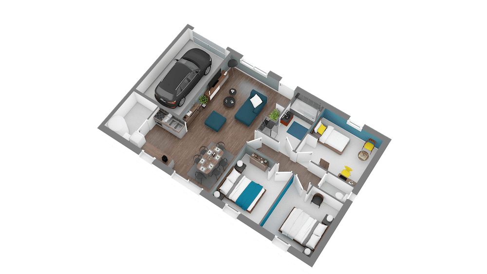 focus 80 plan maison low cost 3 chambres. Black Bedroom Furniture Sets. Home Design Ideas